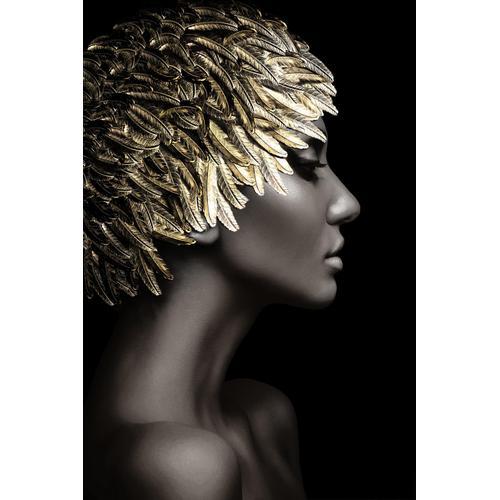 Temp Glass W/foil - Woman Gold Leaves
