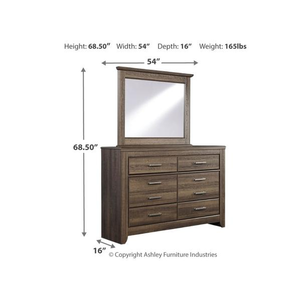 Full Panel Bed With Mirrored Dresser