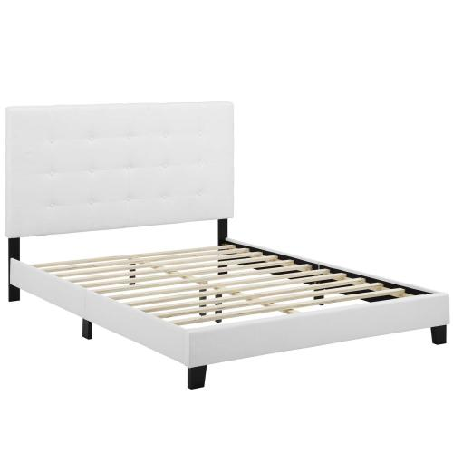 Melanie Queen Tufted Button Upholstered Fabric Platform Bed in White