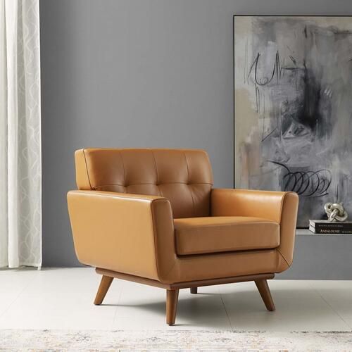 Engage Top-Grain Leather Living Room Lounge Accent Armchair in Tan