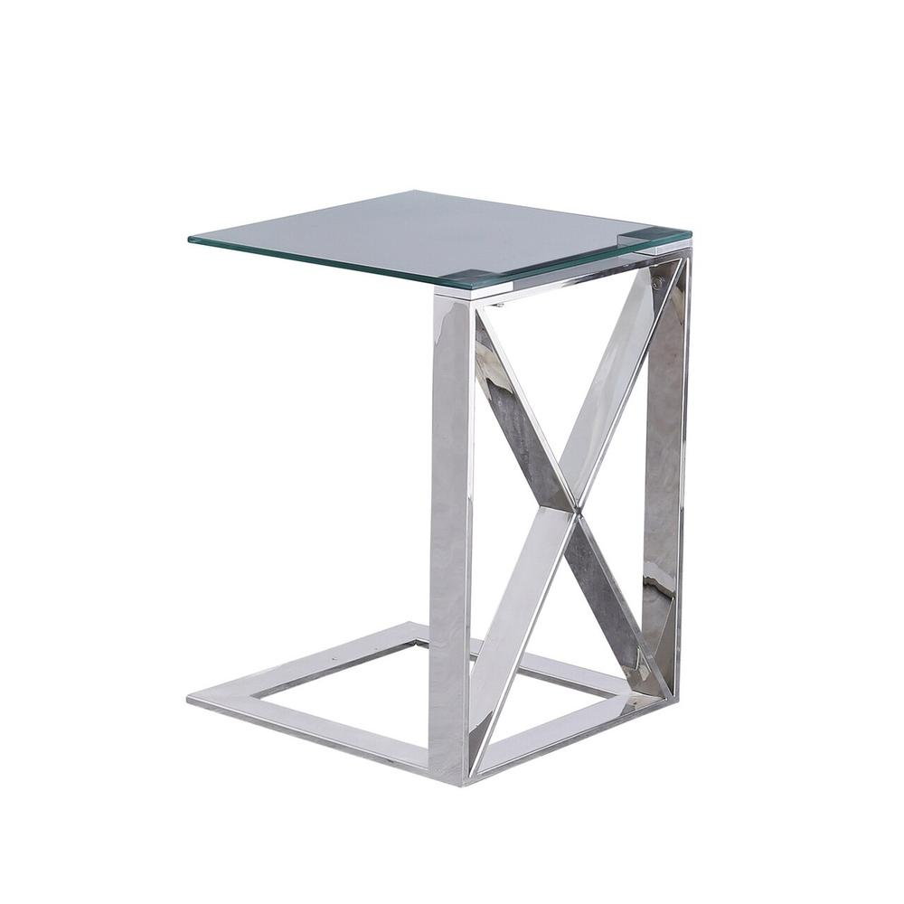 "Metal ""x"" Frame 22"" C Table, Silver"