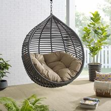 Garner Teardrop Outdoor Patio Swing Chair Without Stand in Gray Mocha