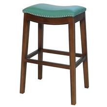 Elmo Bonded Leather Bar Stool, Turquoise