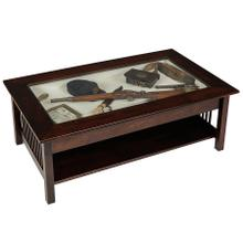 See Details - Mission Glass-top Coffee Table