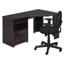 Cabot Corner Desk and Chair Set - Espresso Oak