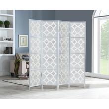 See Details - Quarterfoil infused Diamond Design 4-Panel Room Divider, Silver