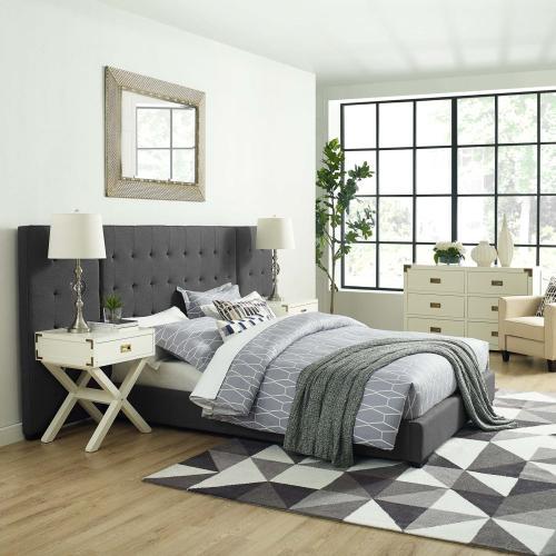 Sierra Queen Upholstered Fabric Platform Bed in Gray