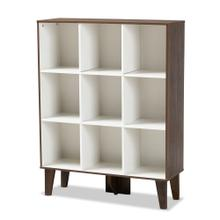See Details - Baxton Studio Senja Modern and Contemporary Two-Tone White and Walnut Brown Finished Wood 9-Shelf Bookcase