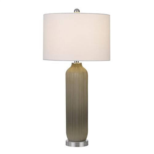 Cal Lighting & Accessories - 150W Catalina Glass Table Lamp With Drum Hardback Fabric Shade