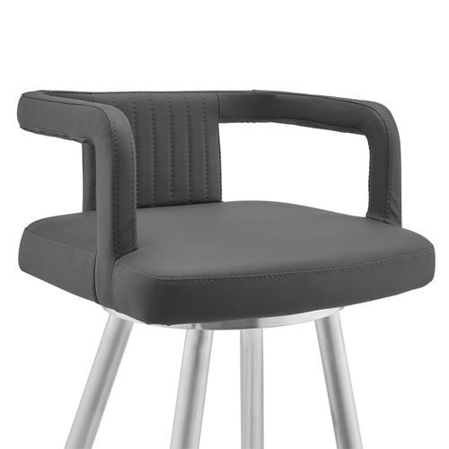 """Gabriele 30"""" Gray Faux Leather and Brushed Stainless Steel Swivel Bar Stool"""