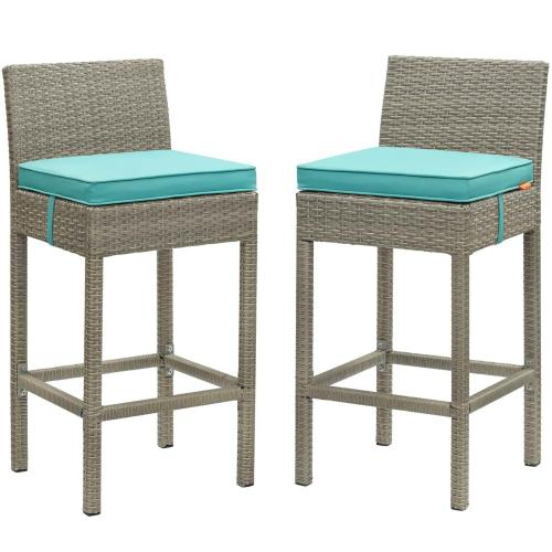 Conduit Bar Stool Outdoor Patio Wicker Rattan Set of 2 in Light Gray Turquoise