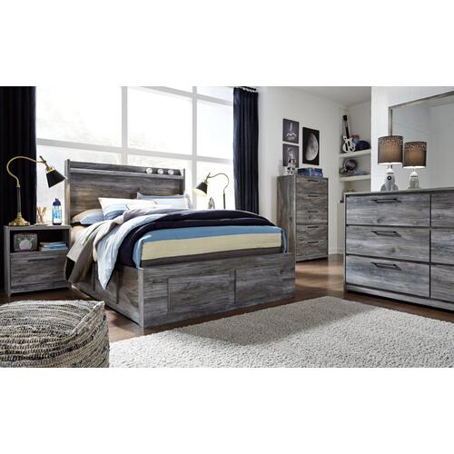 Full Panel Bed With 6 Storage Drawers With Mirrored Dresser, Chest and Nightstand