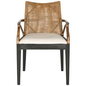 Gianni Arm Chair - Brown, White Cushion