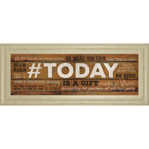 """""""Today Is A Gift"""" By Marla Rae Motivational Framed Print Wall Art"""