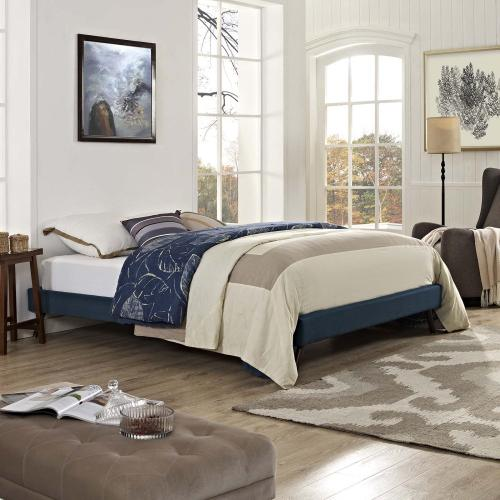 Loryn Queen Fabric Bed Frame with Round Splayed Legs in Azure