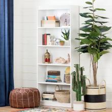 5-Shelf Bookcase - Pure White