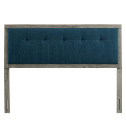 Modway - Draper Tufted Full Fabric and Wood Headboard in Gray Azure