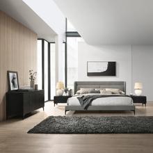 See Details - Legend 4 Piece Gray Fabric King Platform Bedroom Set with Dresser and Nightstands