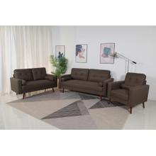 8133 3PC BROWN Linen Stationary Tufted Back Living Room SET