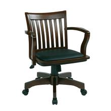 View Product - Deluxe Wood Bankers Desk Chair with Vinyl Padded Seat