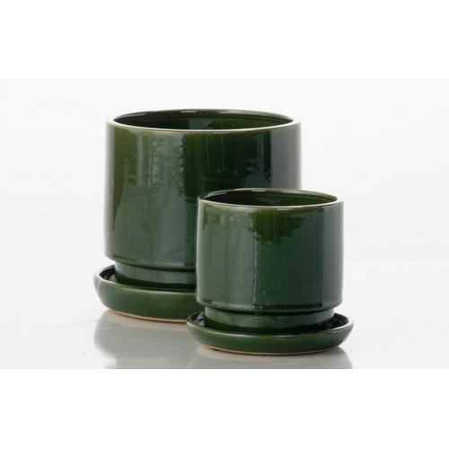 Alfresco Home - Brit Cylinder Petits Pots w/ attached saucer - Green (set of 2)