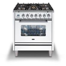 Professional Plus 30 Inch Dual Fuel Liquid Propane Freestanding Range in White with Chrome Trim