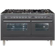 See Details - Professional Plus 60 Inch Dual Fuel Natural Gas Freestanding Range in Matte Graphite with Chrome Trim