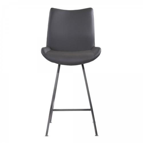 """Armen Living Coronado Contemporary 26"""" Counter Height Barstool in Brushed Grey Powder Coated Finish and Grey Faux Leather"""