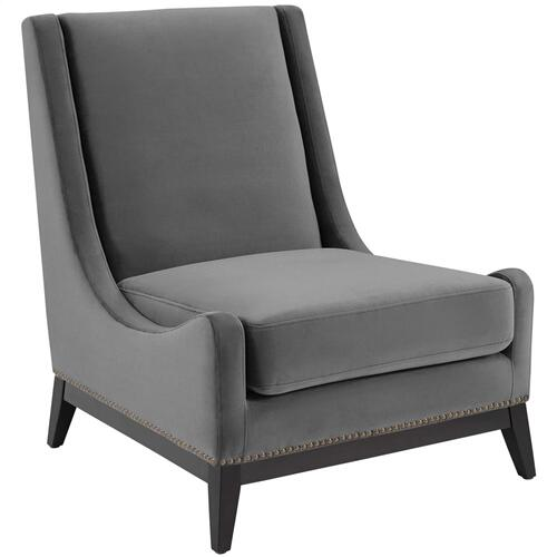 Confident Accent Upholstered Performance Velvet Lounge Chair in Gray