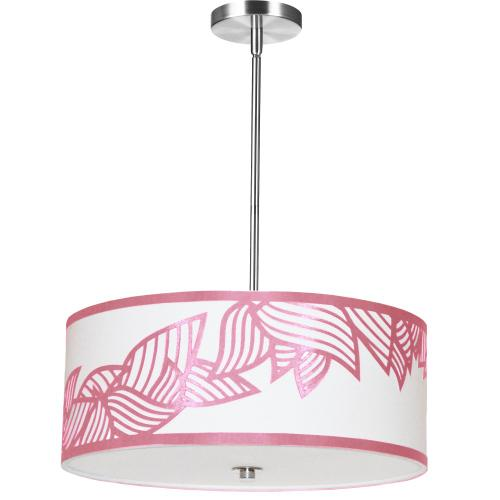 4lt Pendant Polished Chrome Pink & White Shade