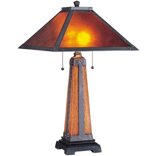 Table Lamp, Dark Bronze/ Walnut/ Mica Shade, Type Cfl 13wx2