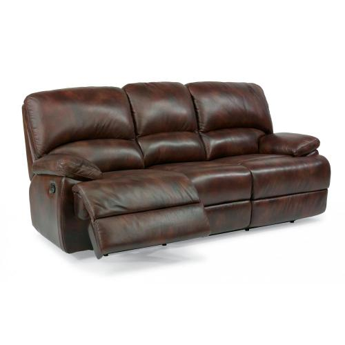 Product Image - Dylan Leather Three-Cushion Reclining Sofa with Chaise Footrests