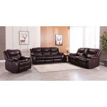 8005 BROWN 3PC Air Leather Power Recliner & USB Sofa SET