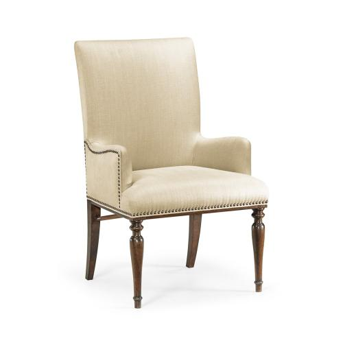 Square Back Bleached Crotch Walnut Dining Armchair, Upholstered in MAZO