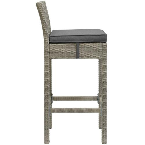 Conduit 5 Piece Outdoor Patio Wicker Rattan Set in Light Gray Charcoal