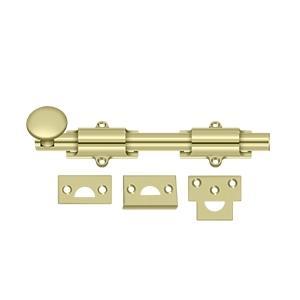 """Deltana - 8"""" Surface Bolt, HD - Unlacquered Brass"""