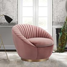 See Details - Mitzey Blush Velvet Swivel Accent Chair with Gold Base
