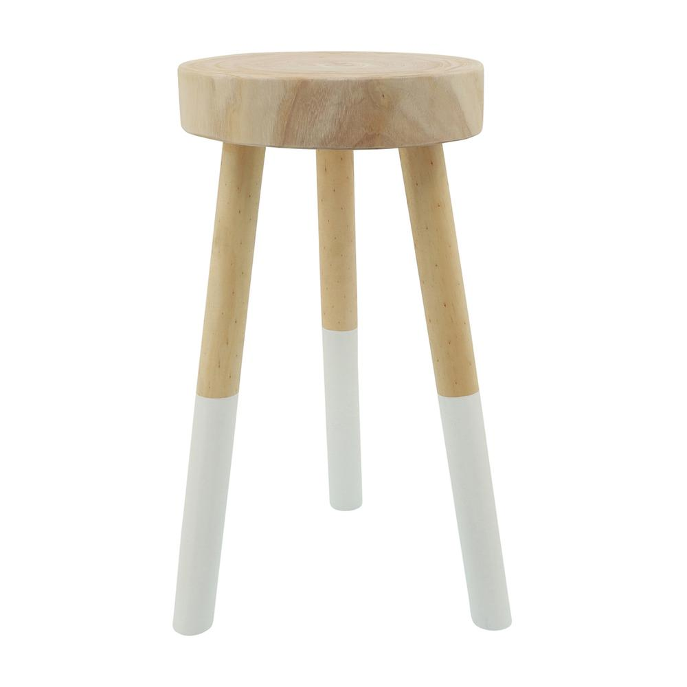 """See Details - Wooden 22"""" 2-tone Stool, Brown"""