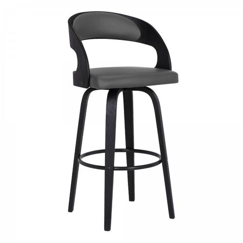 """Shelly Contemporary 26"""" Counter Height Swivel Barstool in Black Brush Wood Finish and Grey Faux Leather"""