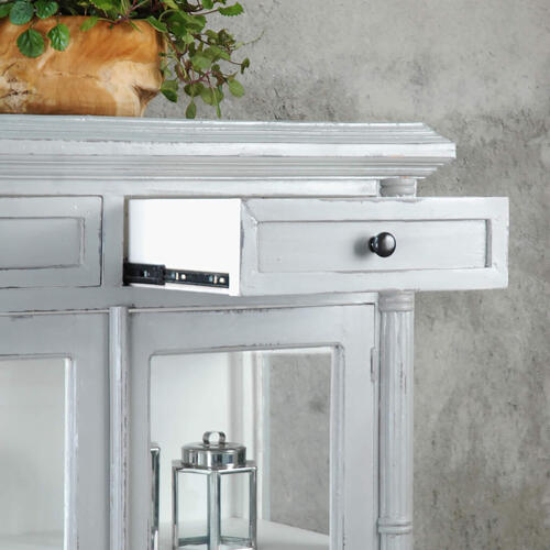Product Image - Curio Cabinet - Two Tone Antique Gray and Whitewash