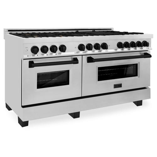 """Zline Kitchen and Bath - ZLINE Autograph Edition 60"""" 7.4 cu. ft. Dual Fuel Range with Gas Stove and Electric Oven in Stainless Steel with Accents (RAZ-60) [Color: Gold]"""