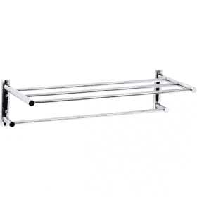 Techno - Two Tier Towel Shelf - Brushed Nickel