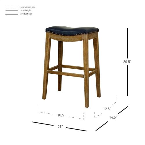 Elmo Bonded Leather Bar Stool Weathered Smoke Legs, Vintage Blue