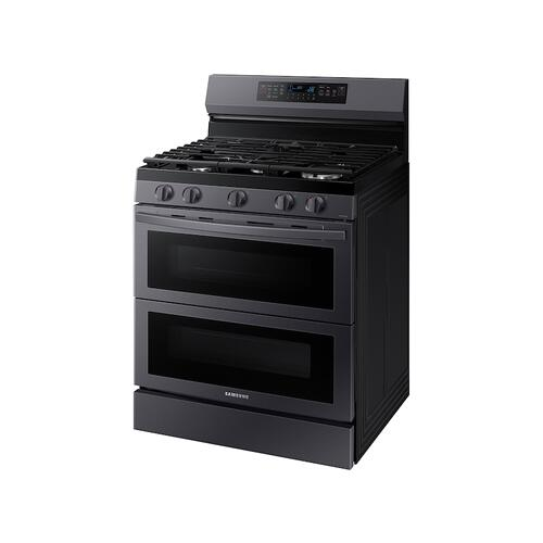 Samsung - 6.0 cu. ft. Smart Freestanding Gas Range with Flex Duo™ & Air Fry in Black Stainless Steel