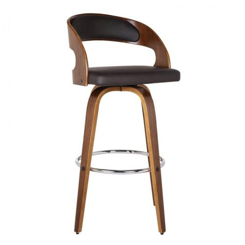 "Armen Living Shelly 30"" Bar Height Barstool in Walnut Wood Finish with Brown PU"