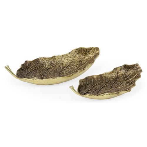 Pair of Antique Brass Leaves