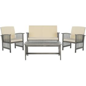 Rocklin 4 PC Outdoor Set - Grey Wash / Beige