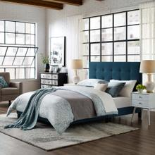Melanie King Tufted Button Upholstered Fabric Platform Bed in Azure