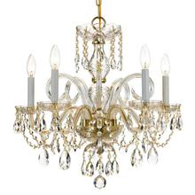 See Details - Traditional Crystal 5 Light Spectra Crystal Brass Chandelier
