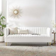 Shift Channel Tufted Performance Velvet Sofa in White